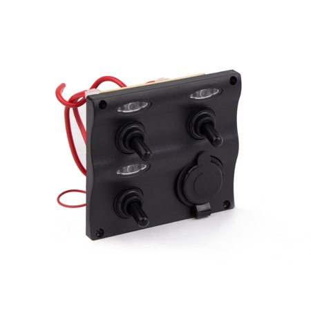 Five Oceans Marine Waterproof 3 Gang Toggle Switch Panel with Cigarette Lighter Socket FO-2892