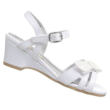 Rachel Shoes Little Girls White Bow Accent Strappy Wedge