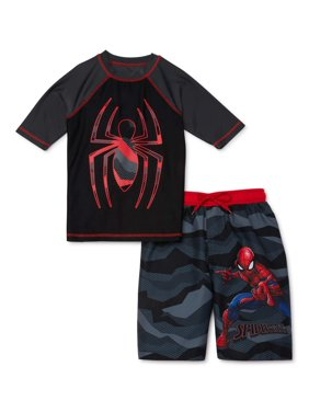 Spider-Man Boys Short Sleeve Rash Guard Swim Shirt and Swim Trunks, UPF 50+, 2-Piece Set, Sizes 4-12