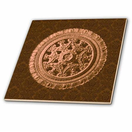 3dRose Antique bronze ornate vintage architectural element on warm chocolate damask background - Ceramic Tile, 12-inch