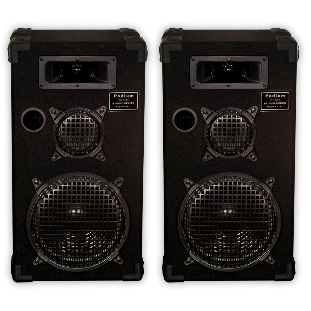 "Podium Pro E1000C PA DJ Passive Speakers 10"" Three Way Monitor Pair Karaoke Home E1000C-PR"
