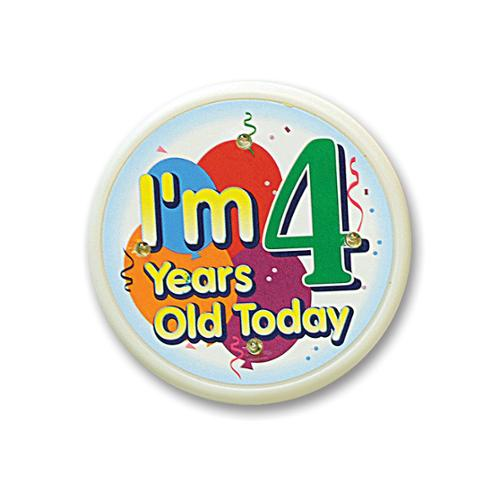 "Pack of 6 White ""I'm 4 Years Old Today"" Child Birthday Celebration Buttons 2.5"""