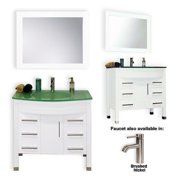 Cambridge Plumbing 8130W White Solid Wood Single Sink Bathroom Vanity
