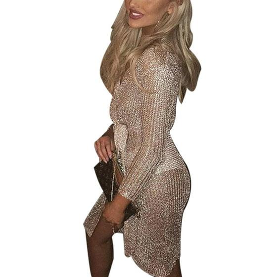 2295e937bec Himone - Women Cardigan Cocktail Party Evening Clubwear Sexy V-neck  Knitwear Sweater Nightclub Dress - Walmart.com