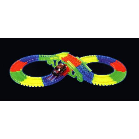 Track Bridge Glow in the Dark 128 Piece Toy Car & Flexible Track Playset w/ Battery Operated Toy Car 2 Track Girder Bridge