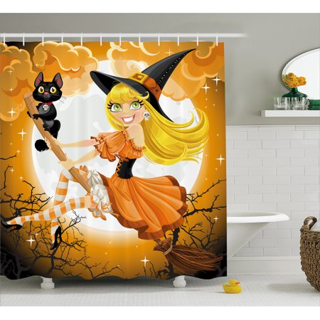 Halloween Shower Curtain, Cute Sexy Witch on a Broom with Baby Kitten and Hazy Moonlight Halloween Themed, Fabric Bathroom Set with Hooks, Multicolor, by Ambesonne