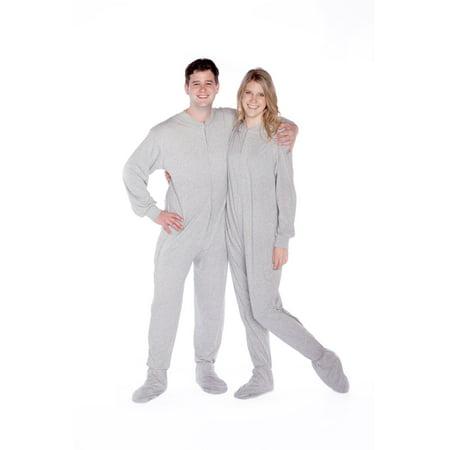 Pyjama Big Feet Pyjama à pieds pour adultes en maille de jersey de coton, avec semelles antidérapantes et fermeture à glissière sur le devant. - image 2 de 2