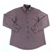 Club Room NEW Red Grey Mens 16 Plaid Woven Button-Front Regular Fit Shirt