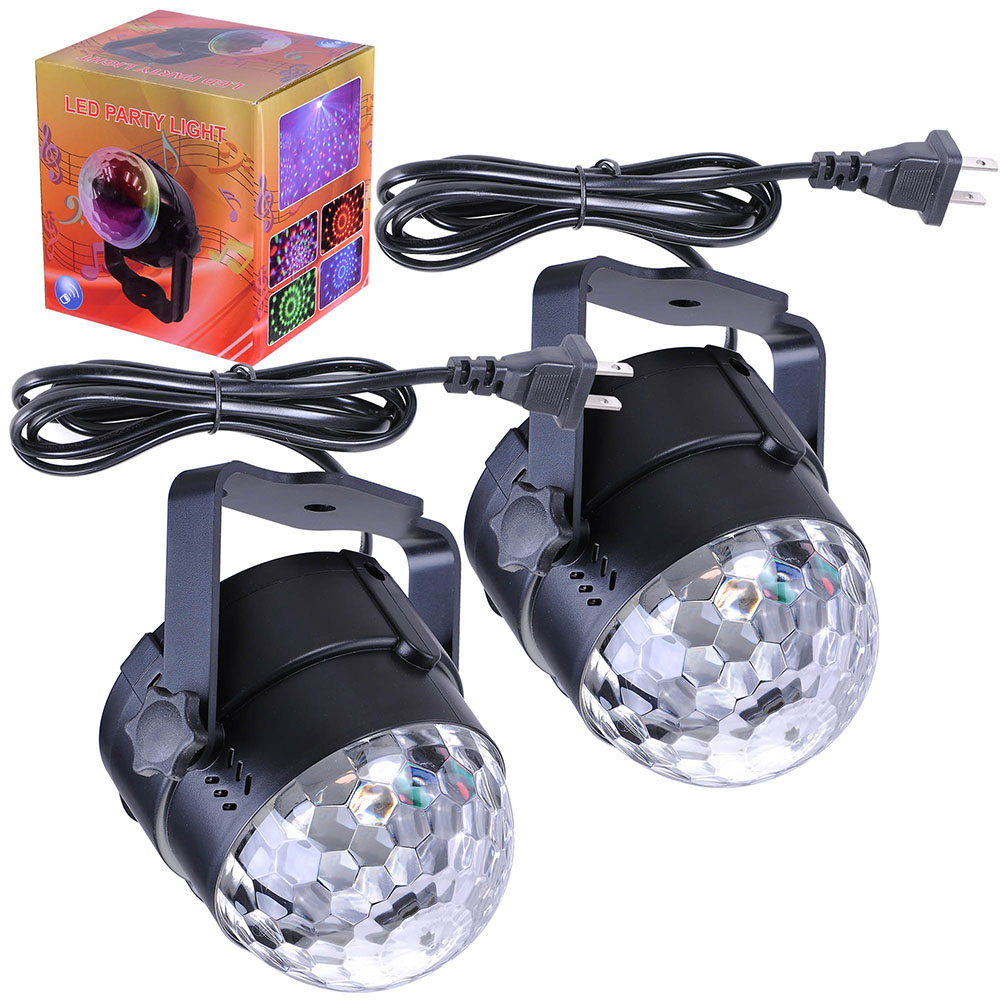 Yescom 2pcs 3W RGB Mini LED Stage Disco Lights Crystal Magical Rotating Ball KTV Party Holiday Party DJ Lamp with Sound-activated/Auto Modes