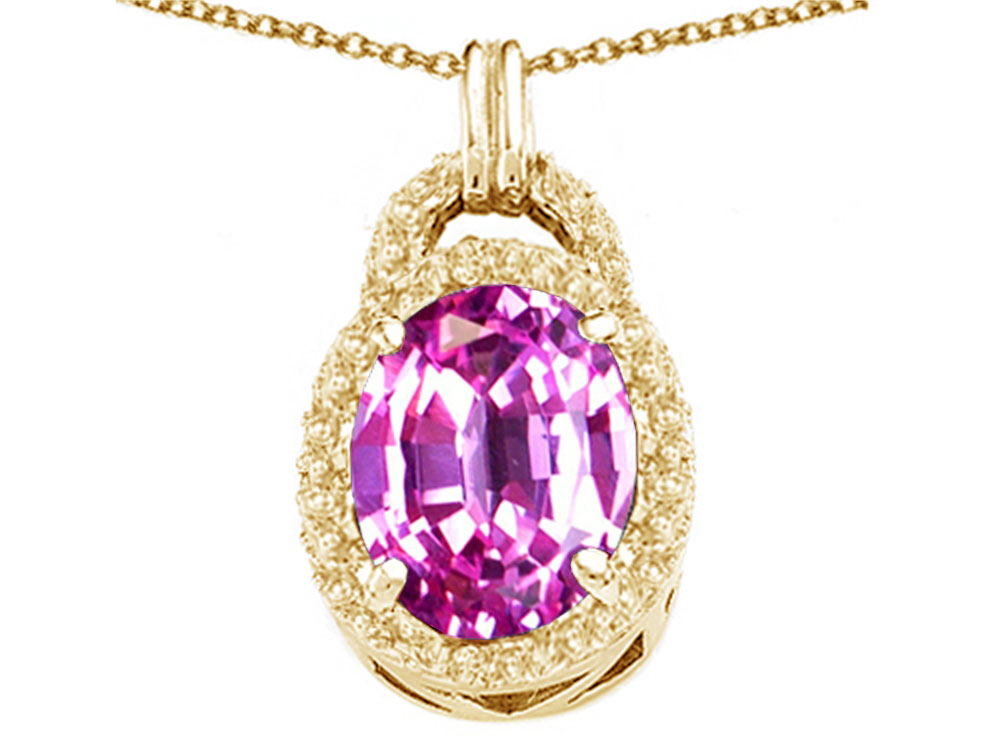 Tommaso Design Oval 10x8mm Simulated Pink Tourmaline Pendant Necklace by