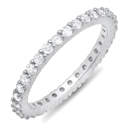 Dazzlingrock Collection 1.00 Carat (ctw) 10k Round Diamond Ladies Eternity Anniversary Ring Stackable Band, White Gold, Size 6.5