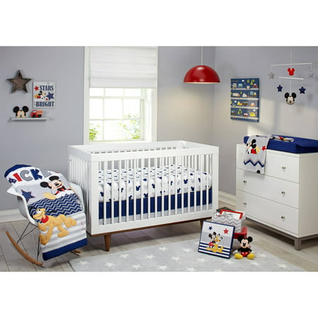 Satin Crib Bedding Set - Disney Let's Go Mickey II 4 Piece Crib Bedding Set