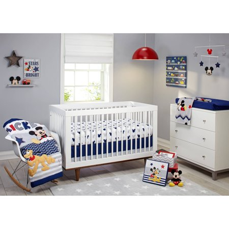 Crib Bedding Bundle Set - Disney Let's Go Mickey II 4 Piece Crib Bedding Set