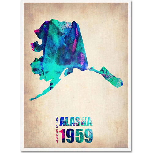 "Trademark Fine Art ""Alaska Watercolor Map"" Canvas Art by Naxart"