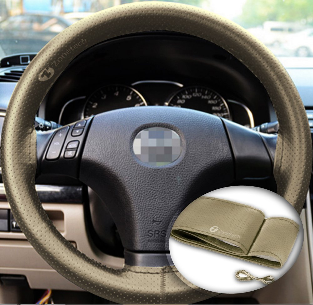 Zone Tech DIY Anti Slip Leather Car Steering Wheel Cover (Beige) - Universal Leather Car Steering Wheel Stitch on Wrap Cover, with Thread and Needle