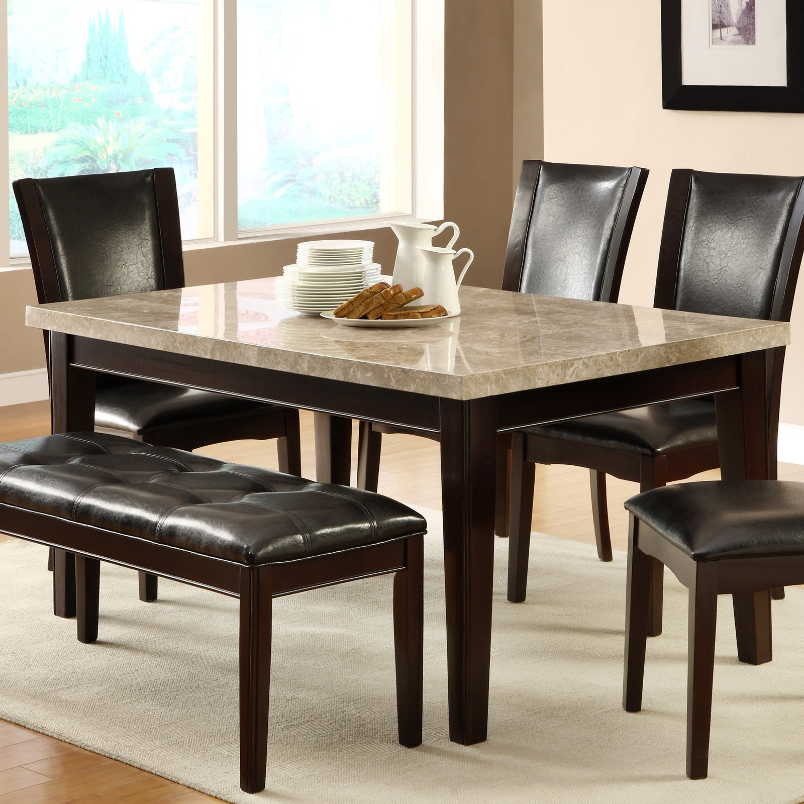 Homelegance Hahn Ivory Marble-Top Dining Table - Espresso