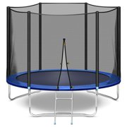 10 FT Trampoline with Safety Enclosure Net, Exercise Trampoline for Kids and Adults with Jumping Mat, Ladder, 661 LB Weight Limit, Indoor Outdoor Fitness Backyard Trampolines, Best Gift