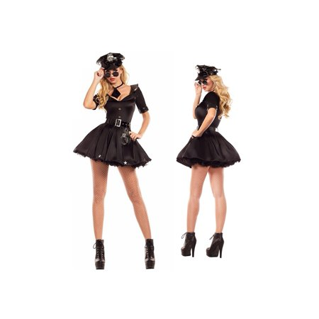 Fancy Dress Halloween Cat (Women's Sexy Police Uniform Halloween Costume Fancy Dress 5 Piece Outfit)