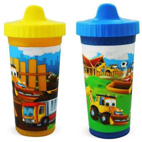 USA Kids Construction Pals Insulated Sippy Cups, BPA-Free, 2-Pack