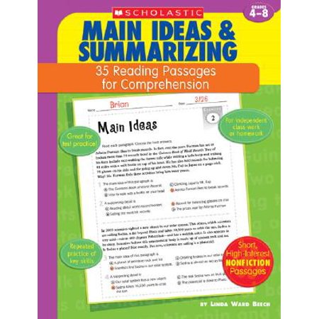 35 Reading Passages for Comprehension: Main Ideas & Summarizing : 35 Reading Passages for Comprehension