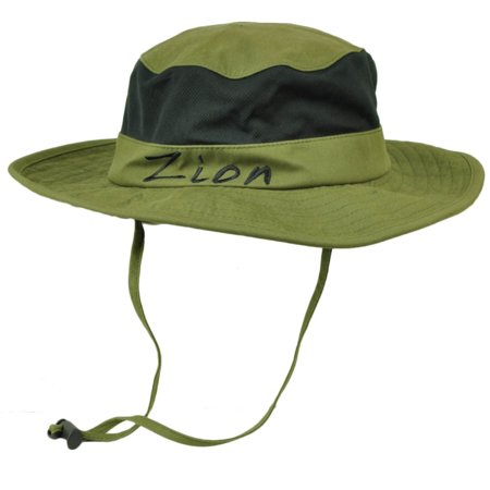 Zion National Park Utah Booney Sun Bucket Hat Chin Strap Mesh Band Outdoors USA