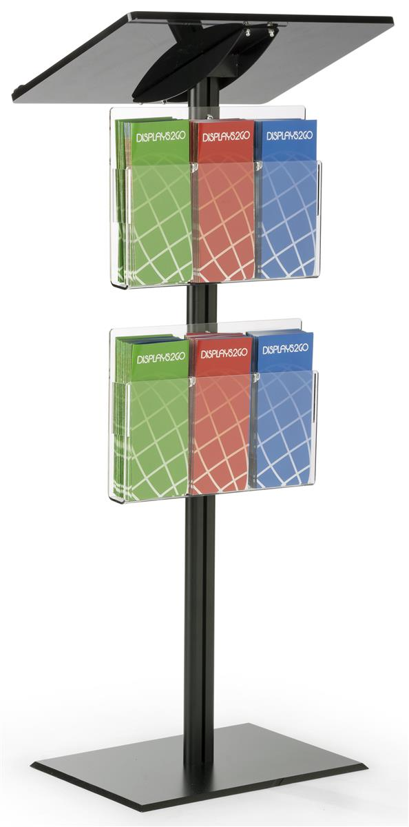 Displays2go Podium Lectern with Literature Organizer, Adjustable Divers, Slanted Top, Silver by Displays2go