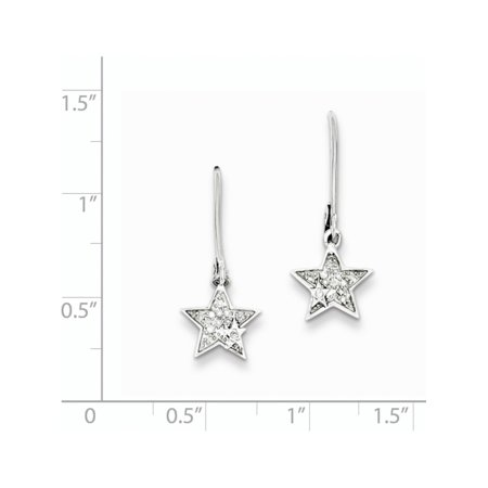 925 rhodi? argent sterling Diamond Star Leverback (10x23mm) Boucles d'oreilles - image 1 de 2