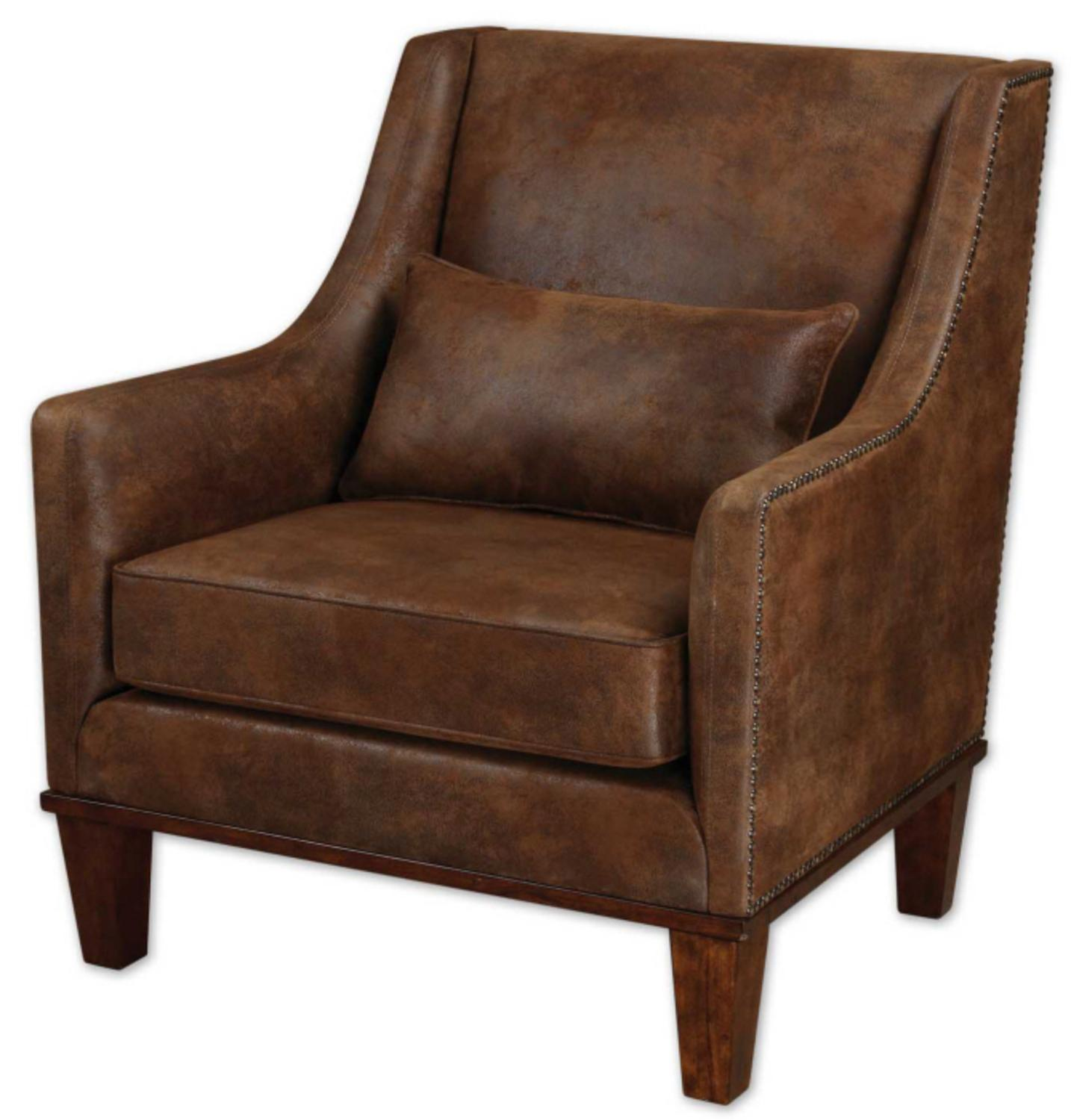 """37"""" Weathered Hickory Antiqued Brass Nail Head Arm Chair with Pillow"""