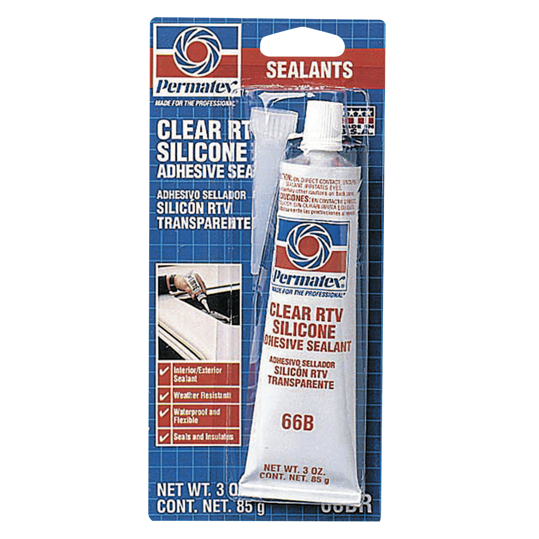 Permatex Clear RTV Silicone Adhesive Sealants, 3 oz Tube, Clear