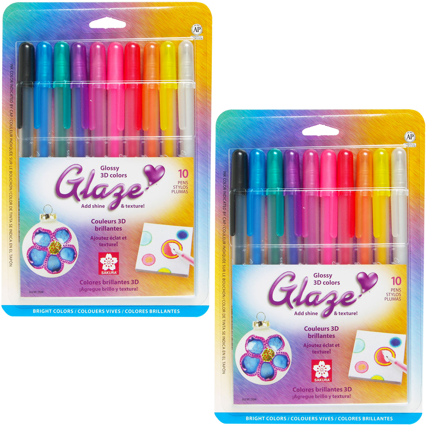 Sakura Glaze 3D Embossed - 2 Sets of the 10pk Bright Gloss Color Pen Set
