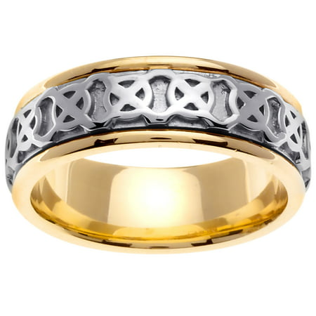 e357364a78866 Wedding Rings Depot - Two Tone Platinun and 18K Yellow Gold Four Squares  Celtic Comfort Fit Men's Wedding Band (8mm) - Walmart.com