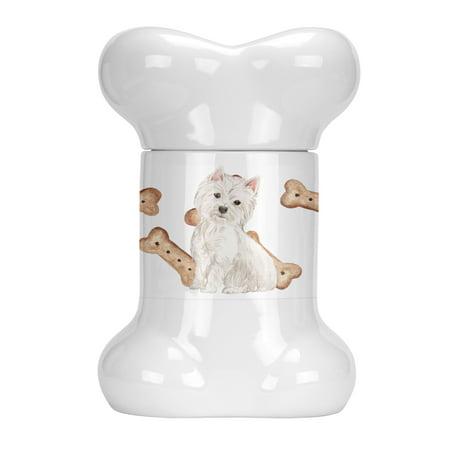 Westie Highland White Terrier Bone Shaped Treat Jar