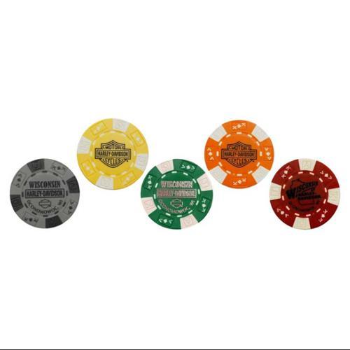 Harley-Davidson Wisconsin Harley Genuine Poker Chips, Collector Set of 5 Chips, Harley Davidson by Harley-Davidson