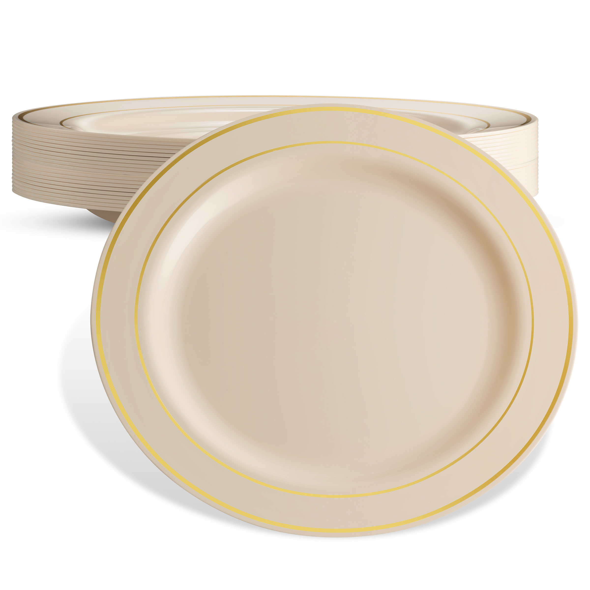 DELUXE PLASTIC PARTY DISPOSABLE PLATES | 10.25 Inch Hard Wedding Dinner Plates | Ivory with Gold  sc 1 st  Walmart & DELUXE PLASTIC PARTY DISPOSABLE PLATES | 10.25 Inch Hard Wedding ...