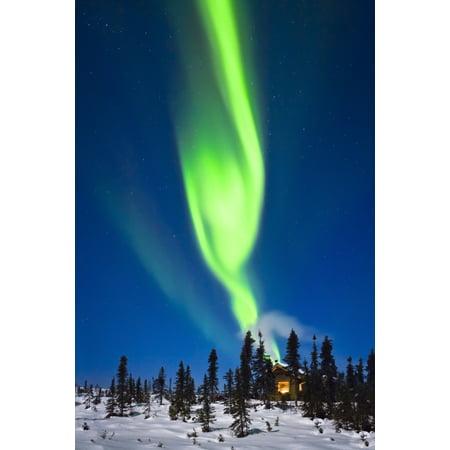 Aurora Over Cabin In The White Mountain Recreation Area During Winter In Interior Alaska Canvas Art - Kevin Smith Design Pics (11 x 17)