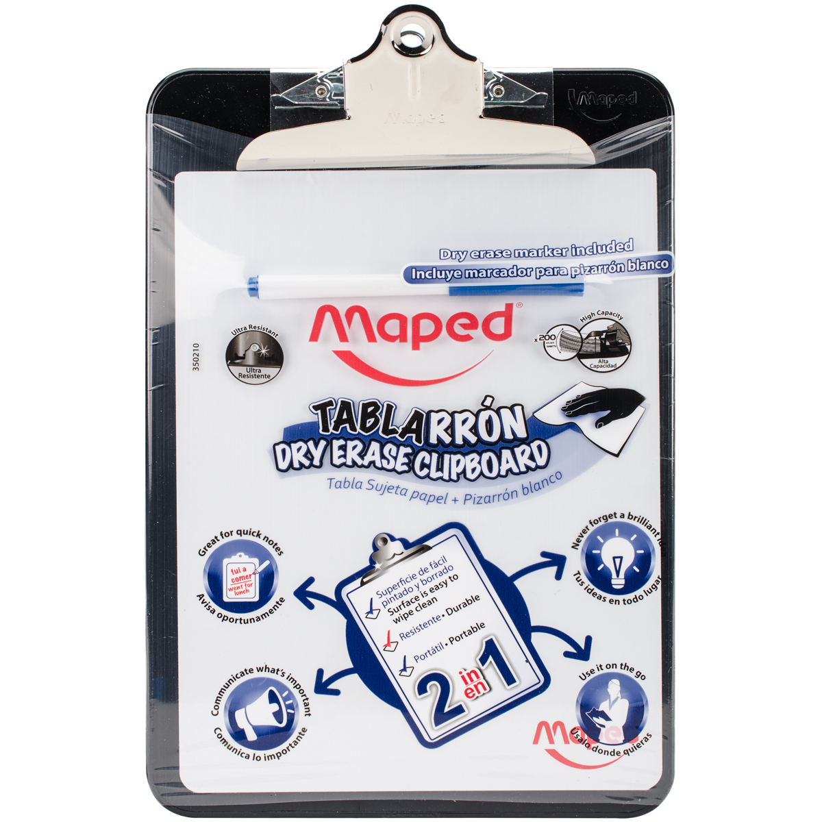 Dry Erase Clipboard with Marker-Black