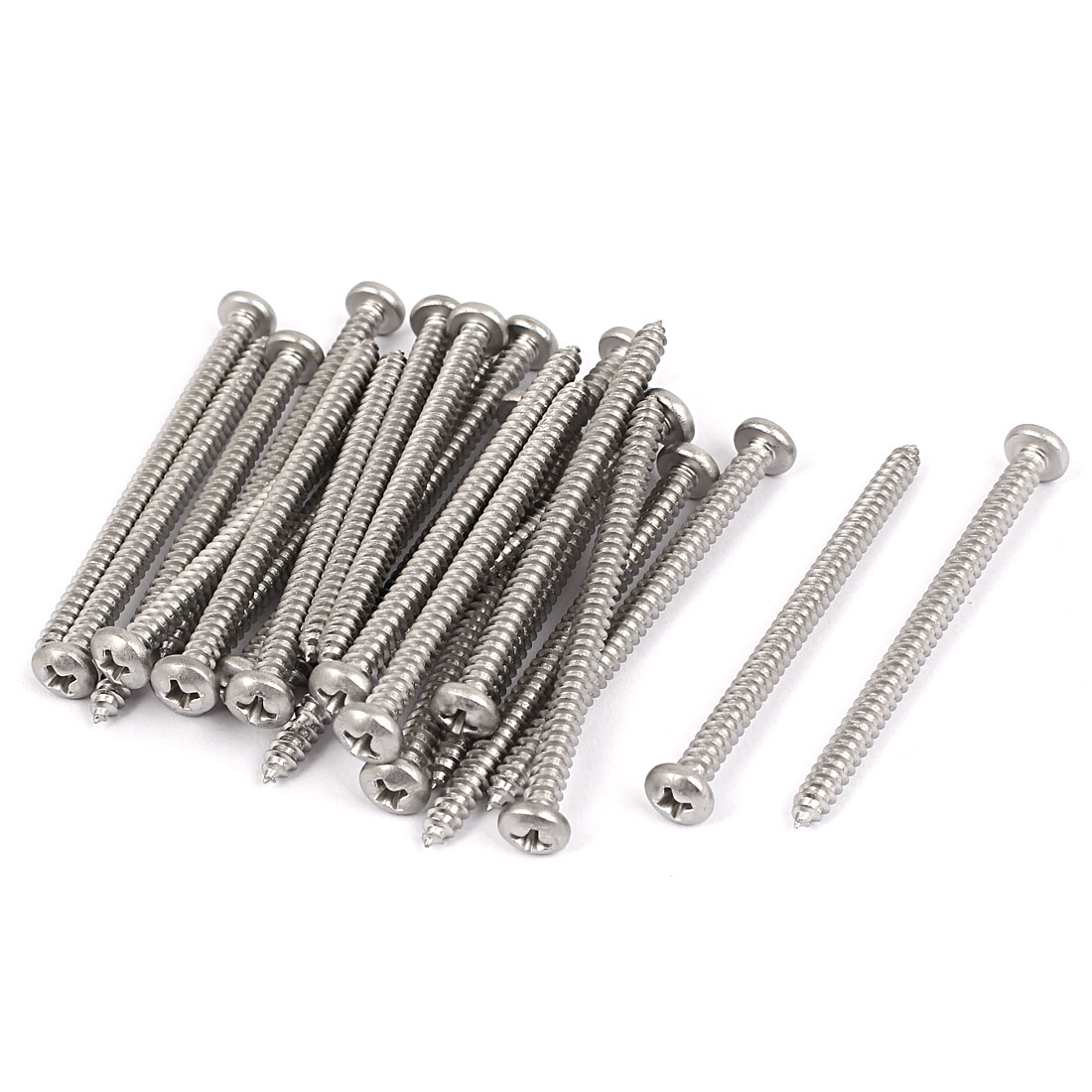 #8 M4.2x60mm Stainless Steel Phillips Round Pan Head Self Tapping Screws 25pcs