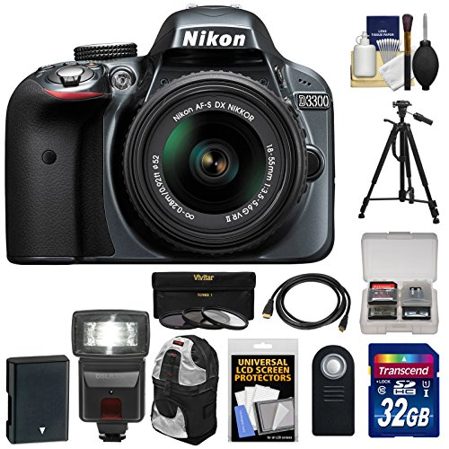 Nikon D3300 Digital SLR Camera & 18-55mm G VR DX II AF-S Zoom Lens (Grey) with 32GB Card   Battery   Backpack   3 Filter