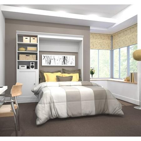 Versatile by Bestar 92'' Queen Wall Bed Kit featuring 1 Door Storage in