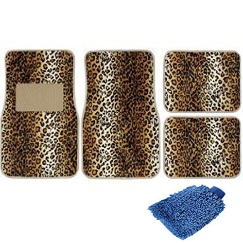 Set of 4 Universal Fit Animal Print Carpet Floor Mats for Cars Truck - Leopard & Bonus Detailing Wash Dust Mitt