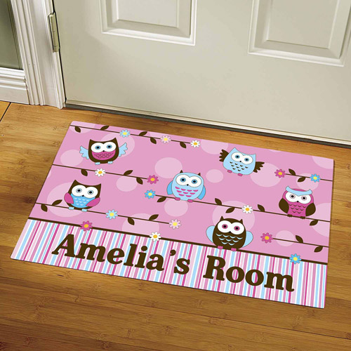 "Personalized Colorful Owl Doormat, 24"" x 36"""