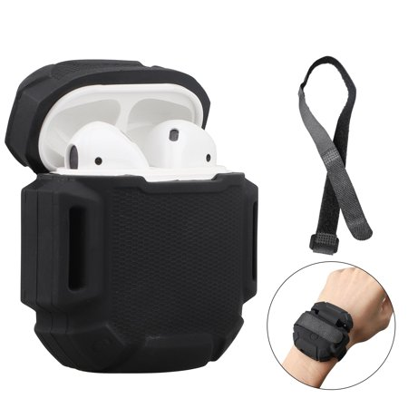Compatible AirPods Case, EEEKit Protective Silicone Cover Skin with Keychain and Strap Compatible for Apple AirPods 2 & 1 Wireless Charging Case (Black)