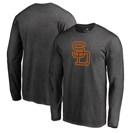 - San Diego Padres Fanatics Branded Cooperstown Collection Huntington Long Sleeve T-Shirt - Heathered Gray