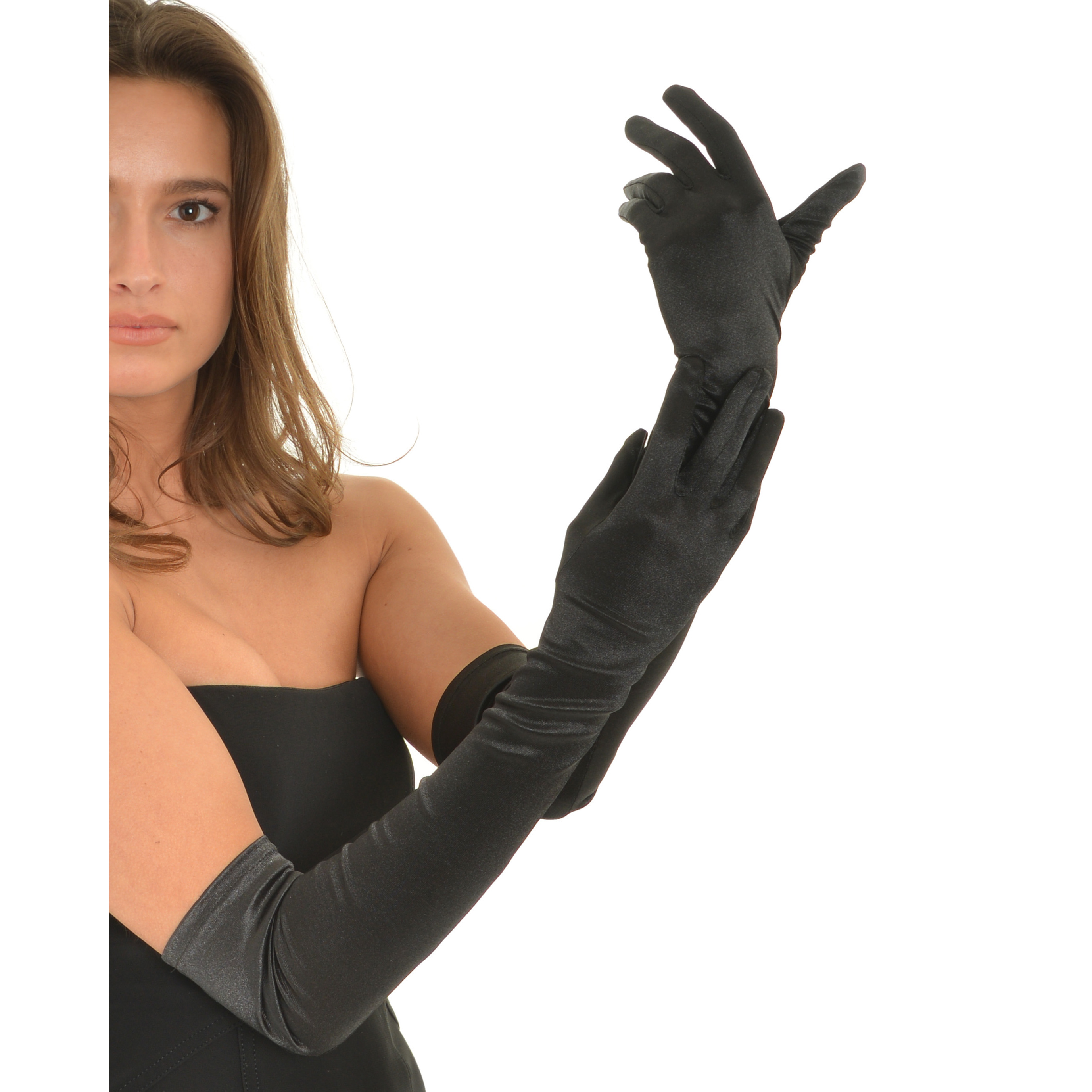 "Evening Gloves Satin Opera Glove Pair Formal Accessory 23"" Long Above Elbow"