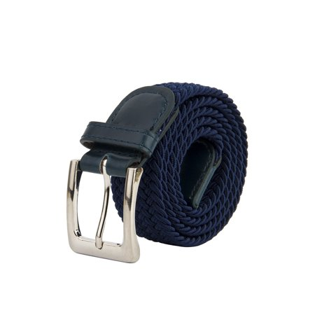 Canvas Elastic Fabric Woven Stretch Braided Belts Solid Color - Navy, S