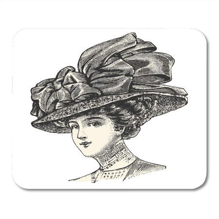 SIDONKU Black Elegant Lady Wearing Large Hat Vintage Engraved Catalog of French Department Store Paris 1909 White Mousepad Mouse Pad Mouse Mat 9x10 (The Hut Department Store)