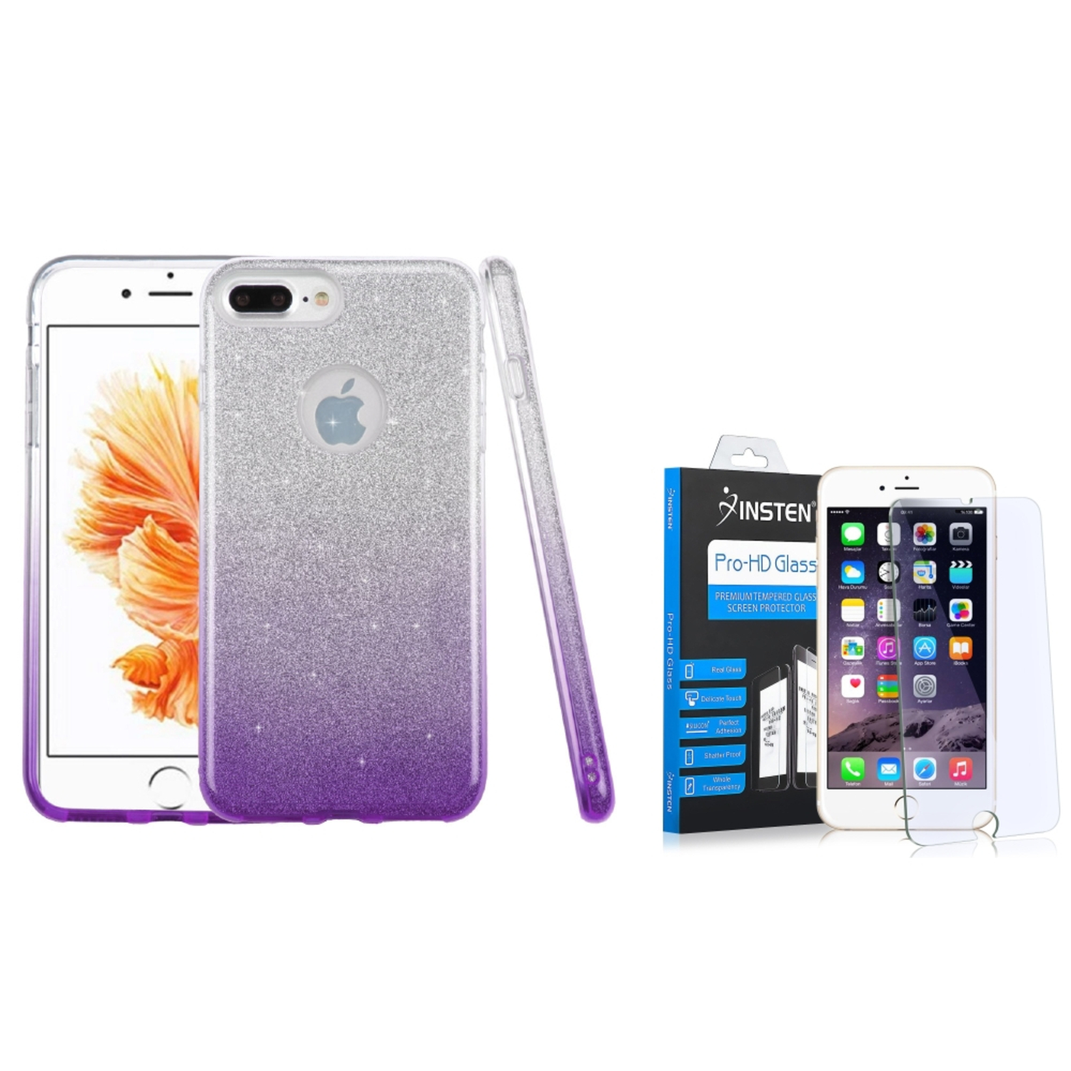 Insten Glitter Hybrid Hard Plastic / Soft Flexible Rubber Case For iPhone 7 Plus - Purple (+ Tempered Glass Protector)