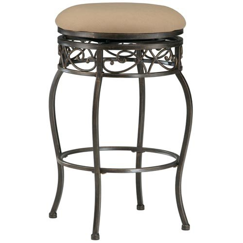 Hillsdale Lincoln 26 in. Backless Swivel Counter Stool - Black Gold