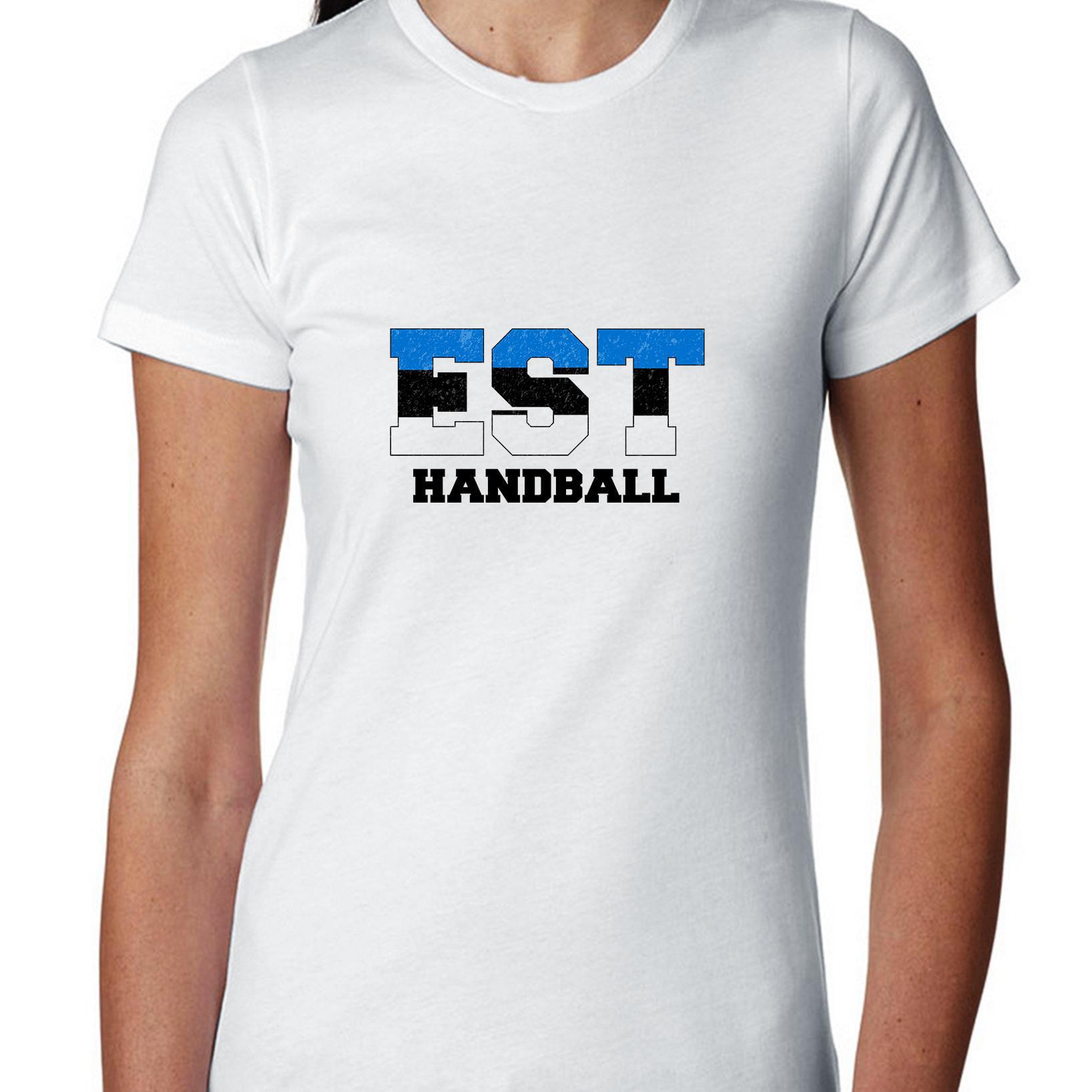Estonia Handball Olympic Games Rio Flag Women's Cotton T-Shirt by Hollywood Thread