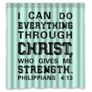 GreenDecor Bible Verse I Can Do All Things Through Christ Who Strengthens Me Philippians Waterproof Shower Curtain Set with Hooks Bathroom Accessories Size 66x72 inches